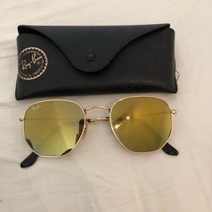 Ray-Ban Hexagon Mirrored Flat Lens Sunglasses